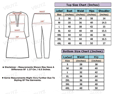 Size chart  for suit set done large