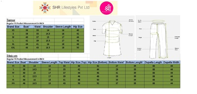 Shree topwear   sets measurement for mirraw large