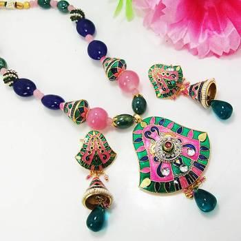 Meenakari Bell Pendant Necklace Green Pink Blues