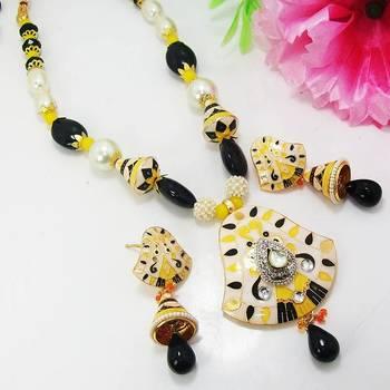 Meenakari Bell Pendant Necklace White Black Yellow