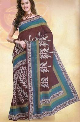 Elegant Mal Mal cotton saree with blouse piece d.no PW101
