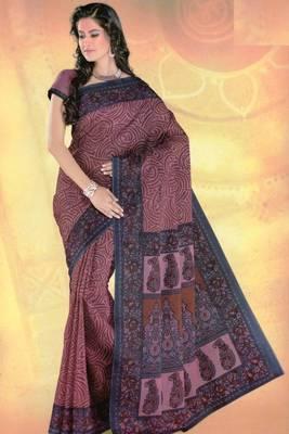 Elegant Mal Mal cotton saree with blouse piece d.no PW106