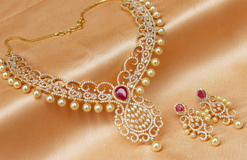 Gorgeous high gold plated CZ  designer   necklace set