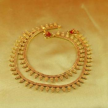 "moti cz pearl stone polki kundun gold polish anklet size-10""inch"