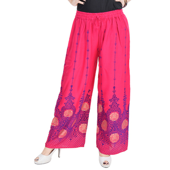 Pink Cotton Embroidered Palazzo