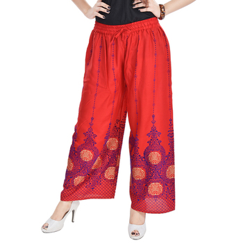 Red Cotton Embroidered Palazzo