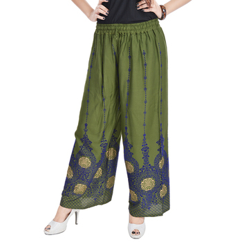 Green Cotton Embroidered Palazzo