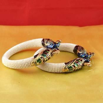 rajasthani moti stone cz polki meenakari kundun kara bangle with stretchable adjustable