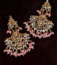 Pink and White Pearl and Kundan Embellished Dangler Earrings