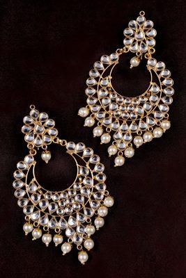 Off White Pearl and Kundan Embellished Dangler Earrings