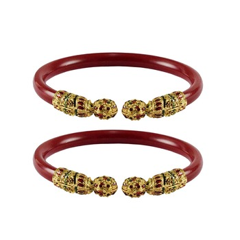 Red  color Acrylic and Brass bangle