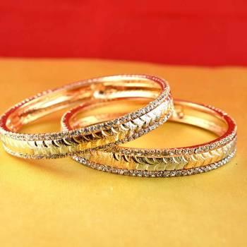 gold moti stone cz polki kundun meenakari pearl bangle kara size-2.6,2.8,2.10