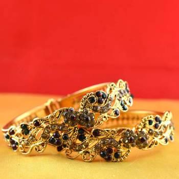 gold moti stone cz polki kundun meenakari pearl bangle kara with stretchable