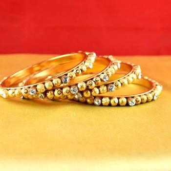 gold moti stone czpolki kundun meenakari pearl bangle kara size-2.4,2.6,2.8