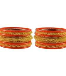 Buy Orange color Acrylic and Brass bangle bangles-and-bracelet online