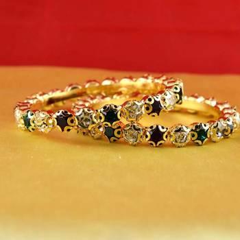 gold moti stone cz polki kundun meenakari pearl bangle kara size-2.4,2.6,2.8