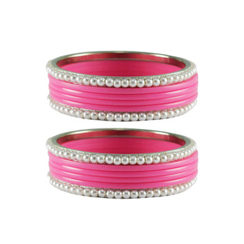 Pink color Acrylic and Brass bangle