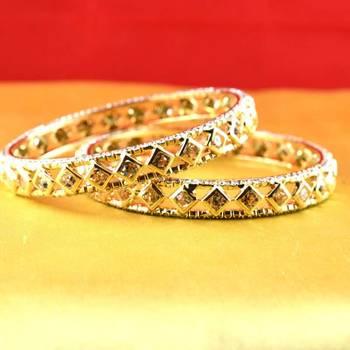 Gold Moti Stone Cz Polki Kundun Meenakari Pearl Bangle Kara Size