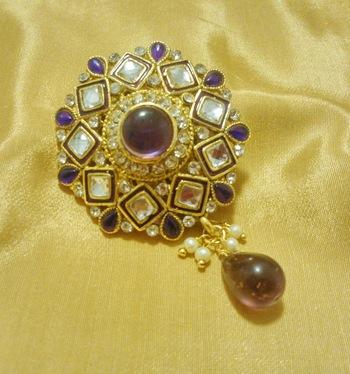 Designer Purple CZ Saree Pin Brooch