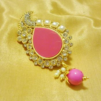 2f8bf7a7a Designer Pink CZ Saree Pin Brooch - LALSO - 551109