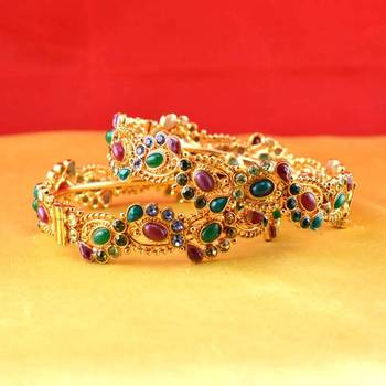 gold moti stone cz polki kundun meenakari pearl bangle kara with skrew system