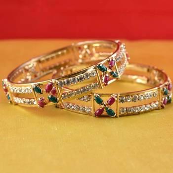 gold moti stone cz polki kundun meenakari pearl bangle kara size-2.6