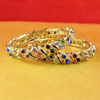 gold moti stone cz polki kundun meenakari pearl bangle kara size-2.4