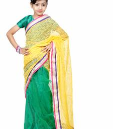 Green and yellow woven net saree with blouse