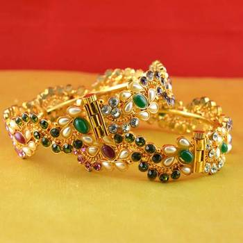 gold moti stone polki kundun cz meenakari pearl bangle kara with skrew system