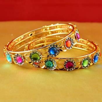 gold moti stone cz polki kundun meenakari pearl bangle kara size-2.8