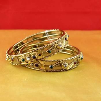 Gold Moti Stone Cz Polki Kundun Meenakari Pearl Bangle Kara