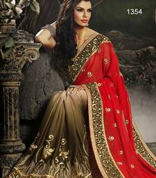 Buy red  and  tobeco embroidered georgett and  satin  saree with blouse bridal-saree online