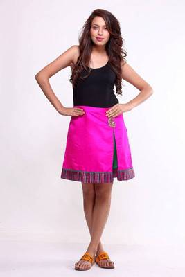 Ethnic Box Pleated A-line Skirt