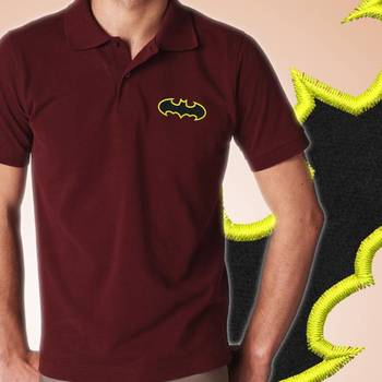 Thayam Batmen Symbol Embroidered Guys Polo T-shirt at Offer, Mens Collar Tshirt