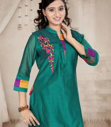 Sea Green Embroidered Chanderi Kurtas  And  Kurtis