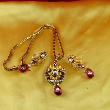 moti cz pearl stone polki kundun  necklace with earing