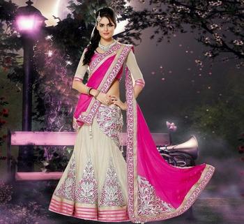 ff85cbd30 White and Pink Embroidered Net and Chiffon unstitched lehenga-choli ...