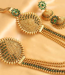 Buy Gorgeous antique  multilayer green designer mugappu bridal haar with earrings necklace-set online