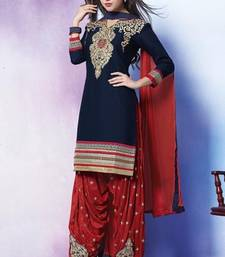 Buy Navy Blue embroidered Cotton unstitched salwar with dupatta dress-material online