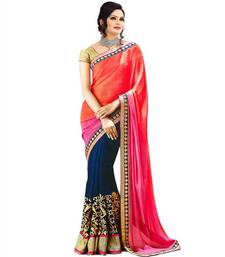 Buy multicolor embroidered georgette saree with blouse half-saree online