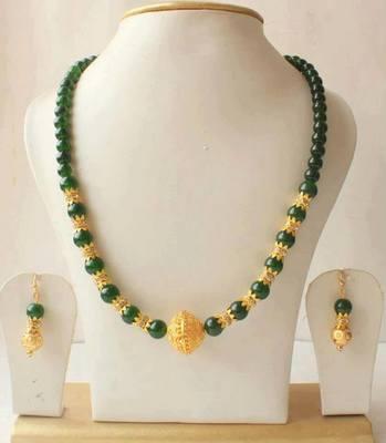 Gorgeous Emerald Gold Tone Necklace Set