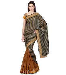 Buy brown woven art_silk saree with blouse silk-saree online
