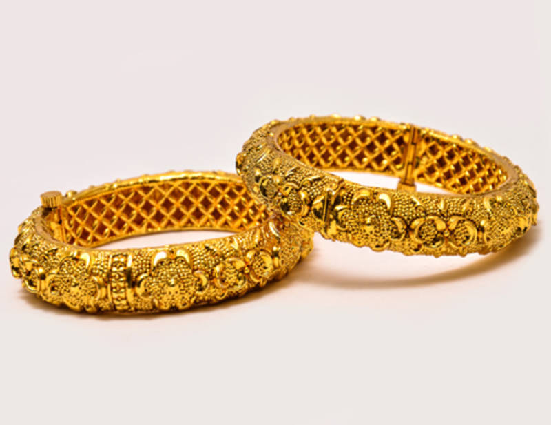 Buy Real Gold Design Flower Bangles Online