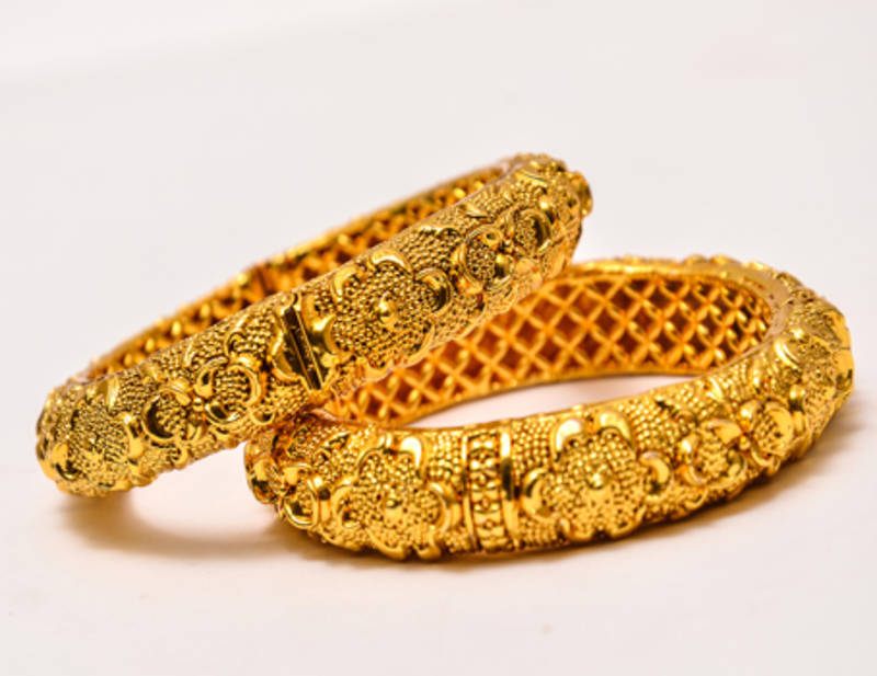Buy Real Gold Design Flower Bangles Online