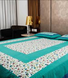 Buy Pure Cotton Green and White Leaf Design Sanganeri Print Double Bedsheet bed-sheet online