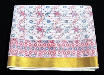 Cotton Saree - Printed  - Zari Border - Casual Saree with blouse - riyaa - 902426 6