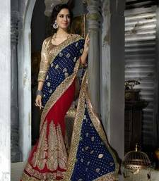 Buy BLUE  and  RED embroidered viscose saree with blouse party-wear-saree online