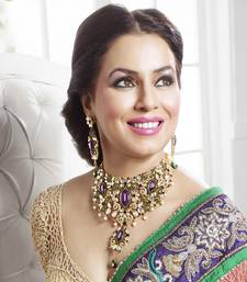 Buy purple kundan cz choker necklace set diwali-jewellery online