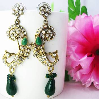 Victorian Curvy Danglers Dark Green