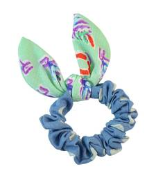 Buy Polka Dot Blue Fabric Hair Rubber Band for Women rubber-hair-band online